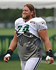 Nick Mangold #74, New York Jets center, heads off the field after a day of team training camp at Atlantic Health Jets Training Center in Florham Park, NJ on Friday, Aug. 5, 2016