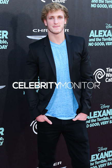 HOLLYWOOD, LOS ANGELES, CA, USA - OCTOBER 06: Logan Paul arrives at the World Premiere Of Disney's 'Alexander And The Terrible, Horrible, No Good, Very Bad Day' held at the El Capitan Theatre on October 6, 2014 in Hollywood, Los Angeles, California, United States. (Photo by Xavier Collin/Celebrity Monitor)