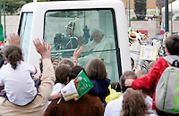 Portugal, Lisbon : Pope Benedict XVI leaves with his popemobil after the welcome ceremony held at the Jeronimos Monastery in Lisbon on May 11, 2010. Pope Benedict XVI is on a four-day official visit to Portugal to attend the annual celebrations of the Our Lady 13 May 1917 apparition to the three little sheferds and the 10th year of their beatification. - PHOTO/PAULO AMORIM