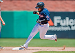 18 July 2018: New Hampshire Fisher Cats designated hitter Juan Kelly rounds second after hitting a two-run homer in the bottom of the 9th inning against the Trenton Thunder at Northeast Delta Dental Stadium in Manchester, NH. The Thunder defeated the Fisher Cats 3-2 concluding a previous game started April 29. Mandatory Credit: Ed Wolfstein Photo *** RAW (NEF) Image File Available ***