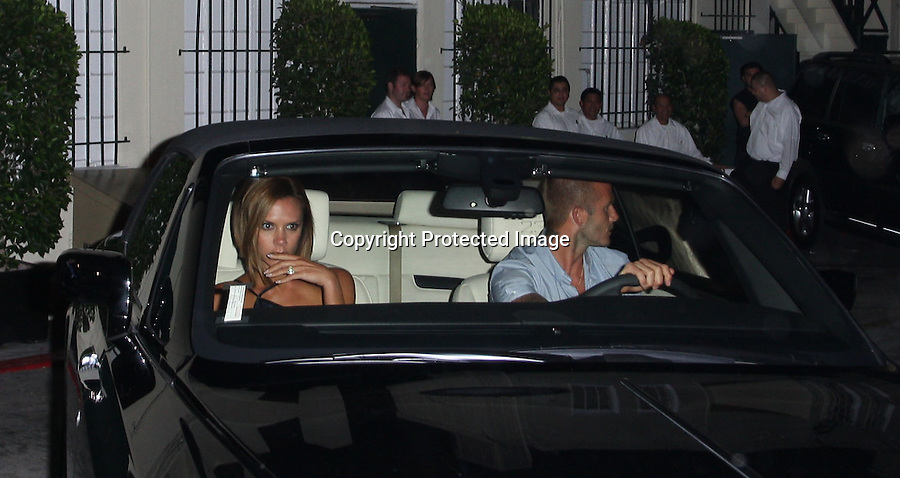 July 14th 2008.david beckham  and victoria going to eat at il sole restaurant on sunset blvd in Los Angeles .Driving there new Rolls Royce..AbilityFilms@yahoo.com.805-427-3519.www.AbilityFilms.com