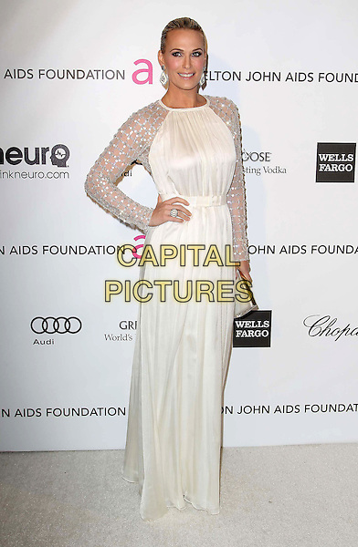 Molly Sims.21st Annual Elton John Academy Awards Viewing Party held at West Hollywood Park, West Hollywood, California, USA..February 24th, 2013.oscars full length white dress hand on hip sheer sequins sequined .CAP/ADM/KB.©Kevan Brooks/AdMedia/Capital Pictures.
