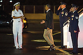 "Admiral Samuel J. Locklear III, Commander, United States Pacific Command (USPACOM), left, welcomes U.S. President Barack Obama, center, to Joint Base Pearl Harbor-Hickam on January 2, 2013 in Honolulu, Hawaii.  The President returned to Hawaii to resume his vacation following U.S. House of Representatives passage of the bill to avoid the ""fiscal cliff""..Credit: Kent Nishimura / Pool via CNP"