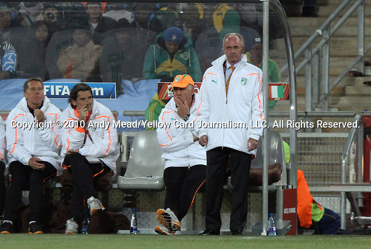 20 JUN 2010: C'ote d'Ivoire head coach Sven Goran Eriksson (SWE). The Brazil National Team defeated the C'ote d'Ivoire National Team 3-1 at Soccer City Stadium in Johannesburg, South Africa in a 2010 FIFA World Cup Group G match.