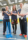 This image is FREE to use in all accredited media, courtesy of Cricket Scotland - Scotland's Minister of Health and Sport (today 24th Jan) tried her hand at cricket with the Captain and opening bat of Scotland's women's national team. The women's squad are currently preparing for an ICC Global Qualifier in Sri Lanka and will depart on Sunday for two warm-up games against Ireland in Dubai ahead of the Qualifiers in two weeks time. Scotland will face some tough opposition at the ICC Global Qualifier where they will face South Africa (8 February), Bangladesh (10 February), Papa New Guinea (11 February) and Pakistan (13 February) - picture shows Aileen Campbell, Minister of Health and Sport, with Scotland Capt Abbi Aitken (left) and opening bat Oli Rae at Fettes School (with some of the school's girls cricketers) - for further information please contact Ben Fox, Cricket Scotland on 0131 313 7420 or at benfox@cricketscotland.com - picture by Donald MacLeod - 24.01.2017 - 07702 319 738 - clanmacleod@btinternet.com - www.donald-macleod.com