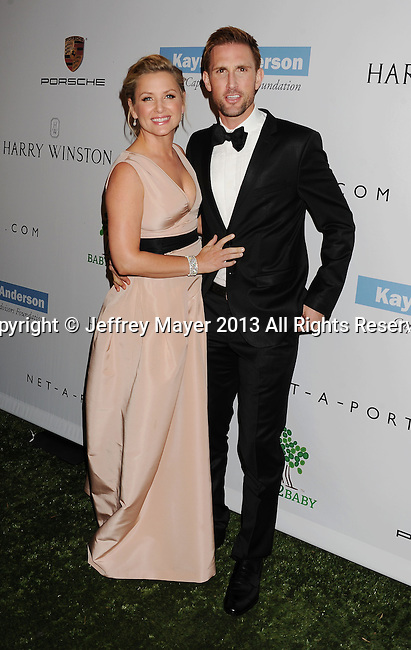 CULVER CITY, CA- NOVEMBER 09: Actress Jessica Capshaw (L) and Christopher Gavigan arrive at the 2nd Annual Baby2Baby Gala at The Book Bindery on November 9, 2013 in Culver City, California.
