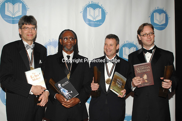 Winners Richar Powers. Nathaniel Mackey,Timothy Egan and MT Anderson..at The National Book Awards Gala on November 15, 2006 ..at The Marriott Marquis Hotel in New York City...Photo by Robin Platzer, Twin Images