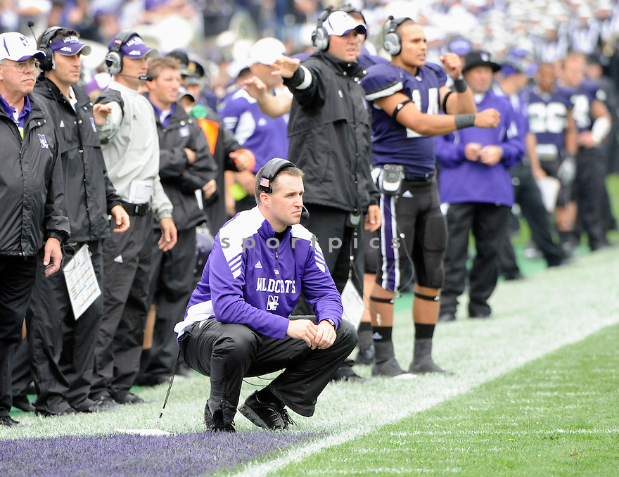 HEAD COACH,PAT FITZGERALD, of the Northwestern Wildcats, in action during the Wildcats game against the Illinois State Redbirds on September 11, 2010 in Evanston, Illinois...Northwestern wins 37-3..SportPics
