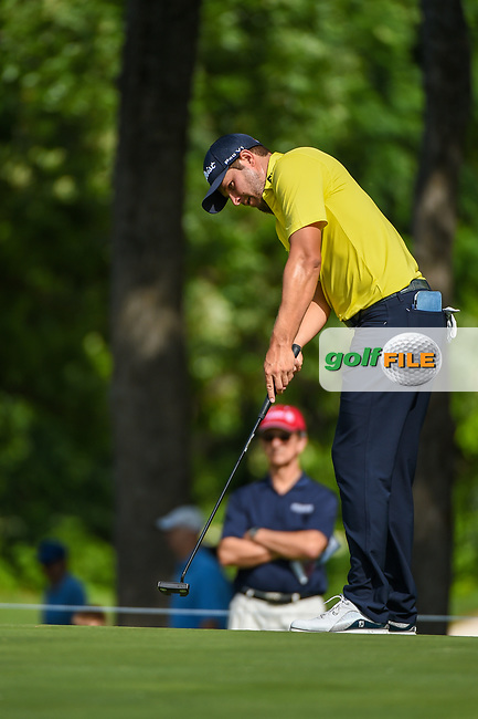 Peter Uihlein (USA) sinks his long birdie putt on 2 during round 3 of the 2019 Charles Schwab Challenge, Colonial Country Club, Ft. Worth, Texas,  USA. 5/25/2019.<br /> Picture: Golffile | Ken Murray<br /> <br /> All photo usage must carry mandatory copyright credit (© Golffile | Ken Murray)