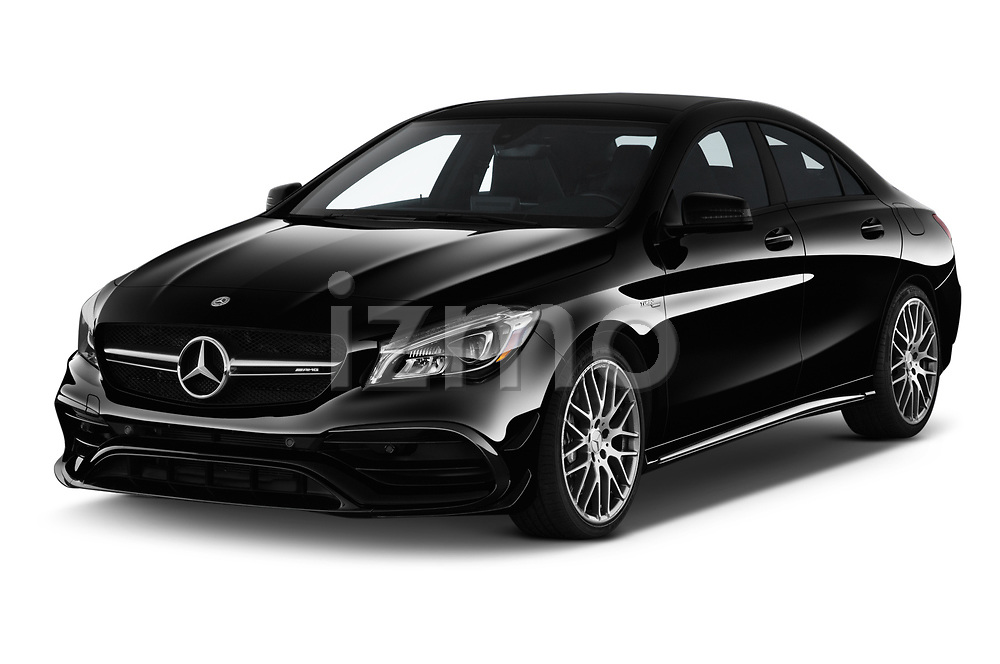 2019 Mercedes Benz CLA Coupe 45 AMG 4 Door Sedan angular front stock photos of front three quarter view