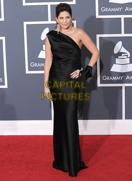 HILLARY SCOTT of Lady Antebellum.Arrivals at the 52nd Annual GRAMMY Awards held at The Staples Center in Los Angeles, California, USA..January 31st, 2010.grammys full length black silk satin one shoulder dress maxi.CAP/RKE/DVS.©DVS/RockinExposures/Capital Pictures