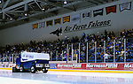 March 14, 2009:   Air Force zamboni action between periods during Atlantic Hockey Association playoff series at Cadet Ice Arena, U.S. Air Force Academy, Colorado Springs, Colorado.