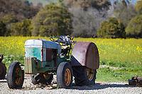 Old Rusty Tractor In The Mustard Field In San Juan Capistrano California