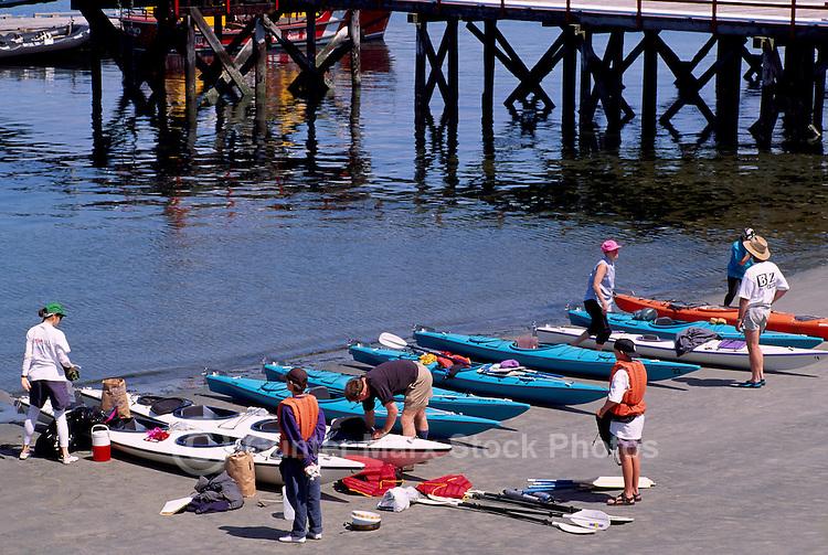 Tofino, Vancouver Island, BC, British Columbia, Canada - Kayakers preparing for Ocean Kayak Trip, Summer