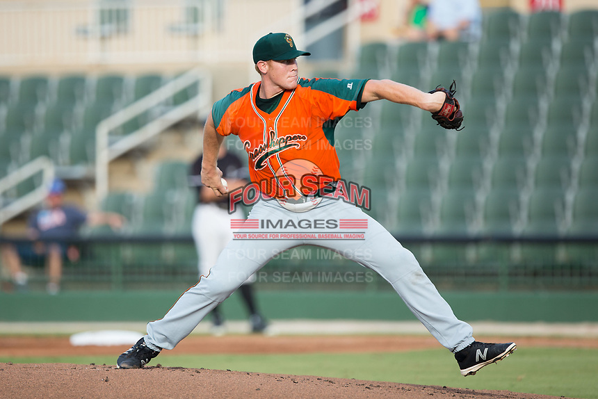 Greensboro Grasshoppers starting pitcher Max Duval (22) in action against the Kannapolis Intimidators at Kannapolis Intimidators Stadium on August 13, 2017 in Kannapolis, North Carolina.  The Grasshoppers defeated the Intimidators 3-0.  (Brian Westerholt/Four Seam Images)