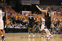 6 April 2008: Stanford Cardinal Candice Wiggins and Kayla Pedersen during Stanford's 82-73 win against the Connecticut Huskies in the 2008 NCAA Division I Women's Basketball Final Four semifinal game at the St. Pete Times Forum Arena in Tampa Bay, FL.
