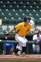 Bradenton Marauders outfielder Austin Meadows (13) hits a home run during a game against the St. Lucie Mets on April 12, 2015 at McKechnie Field in Bradenton, Florida.  Bradenton defeated St. Lucie 7-5.  (Mike Janes/Four Seam Images)