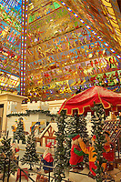 Dubai. United Arab Emirates.  Christmas grotto and pyramidal stained glass rooflight on Egyptian themes at the Wafi Centre/Center shopping mall..