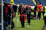 Luke Shaw of Manchester United walks pitchside on crutches ahead of the UEFA Europa League Final at the Friends Arena, Stockholm. Picture date: May 23rd, 2017. Pic credit should read: Matt McNulty/Sportimage