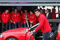 Real Madrid player Antonio Adan participates and receives new Audi during the presentation of Real Madrid's new cars made by Audi at the Jarama racetrack on November 8, 2012 in Madrid, Spain.(ALTERPHOTOS/Harry S. Stamper) .<br />