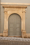 Door with arch in Old Quarters building.  Alicante City, Costa Blanca, Spain, Europe.