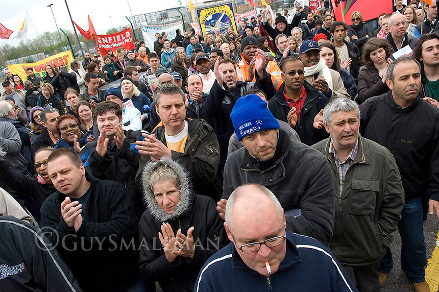 Workers at the Visteon plant in Enfield, North London end the occupation of their factory. 550 redundencies were announded at the plants in Basildon, Enfield and Belfast. They had occupied the factory for nine days.