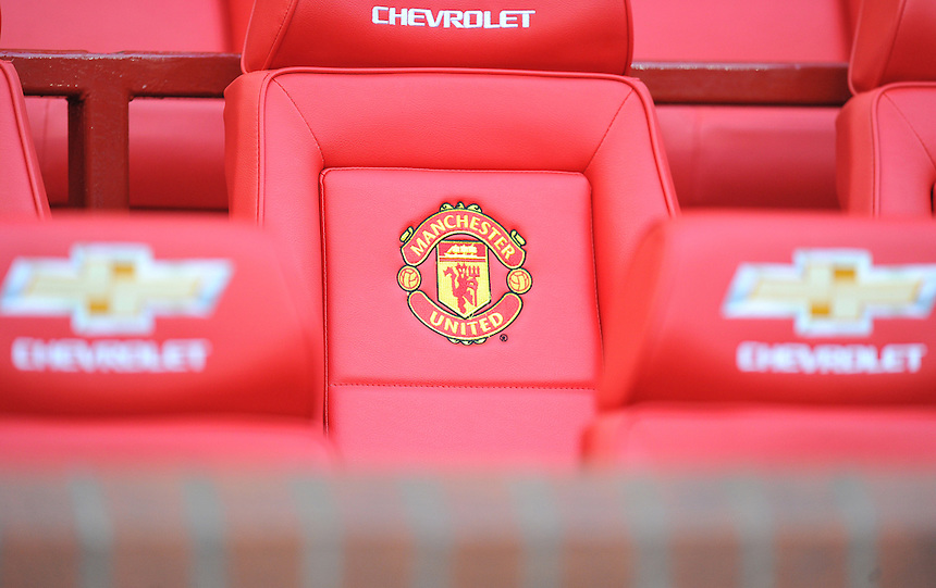 A view of the bench at Old Trafford<br /> <br /> Photo by Dave Howarth/CameraSport<br /> <br /> Football - Barclays Premiership - Manchester United v Fulham - Sunday 9th February 2014 - Old Trafford - Manchester<br /> <br /> &copy; CameraSport - 43 Linden Ave. Countesthorpe. Leicester. England. LE8 5PG - Tel: +44 (0) 116 277 4147 - admin@camerasport.com - www.camerasport.com