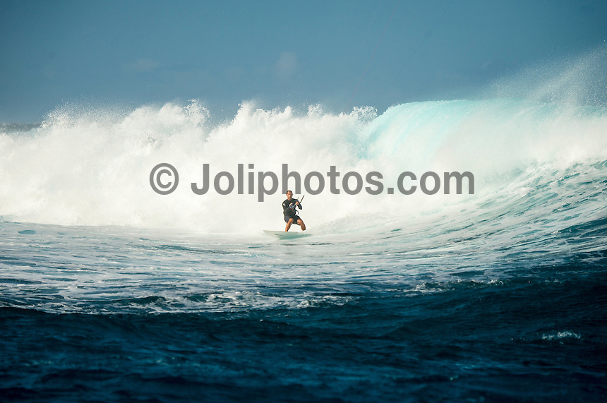 Namotu Island Resort/Fiji (Saturday, September 7, 2013) Chris Dent (AUS) - The swell jumped overnight to around 6'-8' at Namotu Lefts and Restaurants. The wind was also up form the south making testing conditions for surfers and kite surfers. Photo: joliphotos.com