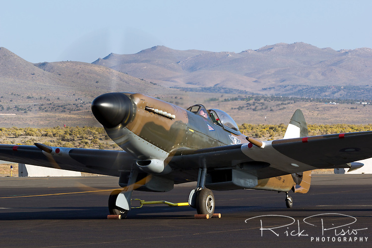 Mk. XIV Supermarine Spitfire does an engine run at Stead Field in Nevada