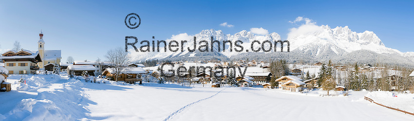 Austria, Tyrol, ski resort Going and Wilder Kaiser Mountains | Oesterreich, Tirol, Going am Wilden Kaiser mit Dorfkirche zum heiligen Kreuz und dem Wilden Kaiser Gebirge