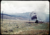 RGS #455 and leased D&amp;RGW #452 with a southbound freight approaching a road crossing just west of Ridgway at Jay.<br /> RGS  Ridgway, CO  Taken by Maxwell, John W. - 9/5/1950