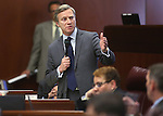 Nevada Sen. Greg Brower, R-Reno, speaks on the Senate floor at the Legislative Building in Carson City, Nev., on Wednesday, May 22, 2013. <br /> Photo by Cathleen Allison