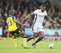 Bolton Wanderers Sammy Ameobi in action with Burton Albion's Hope Akpan<br /> <br /> Photographer Mick Walker/CameraSport<br /> <br /> The EFL Sky Bet Championship - Burton Albion v Bolton Wanderers - Saturday 28th April 2018 - Pirelli Stadium - Burton upon Trent<br /> <br /> World Copyright &copy; 2018 CameraSport. All rights reserved. 43 Linden Ave. Countesthorpe. Leicester. England. LE8 5PG - Tel: +44 (0) 116 277 4147 - admin@camerasport.com - www.camerasport.com