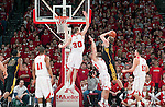 March 3, 2010: Wisconsin Badgers forward Jon Leuer (30) jumps to defect a shot during a Big Ten Conference NCAA basketball game against the Iowa Hawkeyes at the Kohl Center on March 3, 2010 in Madison, Wisconsin. The Badgers won 67-40. (Photo by David Stluka)