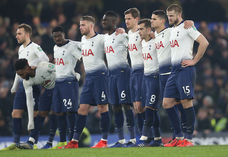 The Tottenham players line up during the penalty shoot-out<br /> <br /> Photographer Rob Newell/CameraSport<br /> <br /> The Carabao Cup Semi-Final Second Leg - Chelsea v Tottenham Hotspur - Thursday 24th January 2019 - Stamford Bridge - London<br />  <br /> World Copyright © 2018 CameraSport. All rights reserved. 43 Linden Ave. Countesthorpe. Leicester. England. LE8 5PG - Tel: +44 (0) 116 277 4147 - admin@camerasport.com - www.camerasport.com