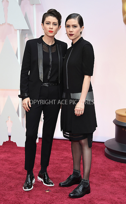 WWW.ACEPIXS.COM<br /> <br /> February 22 2015, LA<br /> <br /> Tegan Quin and Sara Quin arriving at the 87th Annual Academy Awards at the Hollywood &amp; Highland Center on February 22, 2015 in Hollywood, California.<br /> <br /> By Line: Z15/ACE Pictures<br /> <br /> <br /> ACE Pictures, Inc.<br /> tel: 646 769 0430<br /> Email: info@acepixs.com<br /> www.acepixs.com