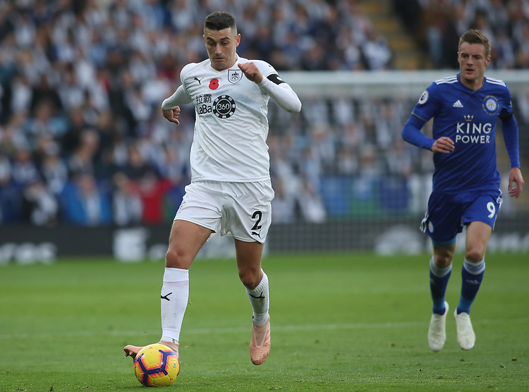 Burnley's Matthew Lowton<br /> <br /> Photographer Rachel Holborn/CameraSport<br /> <br /> The Premier League - Saturday 10th November 2018 - Leicester City v Burnley - King Power Stadium - Leicester<br /> <br /> World Copyright © 2018 CameraSport. All rights reserved. 43 Linden Ave. Countesthorpe. Leicester. England. LE8 5PG - Tel: +44 (0) 116 277 4147 - admin@camerasport.com - www.camerasport.com