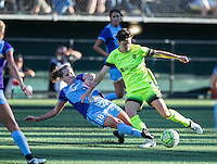 Seattle, WA - Saturday July 23, 2016: Maddy Evans, Keelin Winters during a regular season National Women's Soccer League (NWSL) match between the Seattle Reign FC and the Orlando Pride at Memorial Stadium.