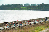 Picture by Allan McKenzie/SWpix.com - 15/04/18 - Cycling - HSBC UK British Cycling Spring Cup Road Series - Chorley Grand Prix 2018 - Chorley, England - The break crosses Rivington reservoir.