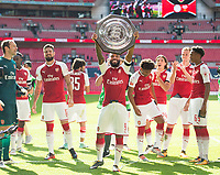 Arsenal's Alexandre Lacazette with Community Shield after  the The FA Community Shield Final match between Arsenal and Chelsea at Wembley Stadium, London, England on 6 August 2017. Photo by Andrew Aleksiejczuk / PRiME Media Images.