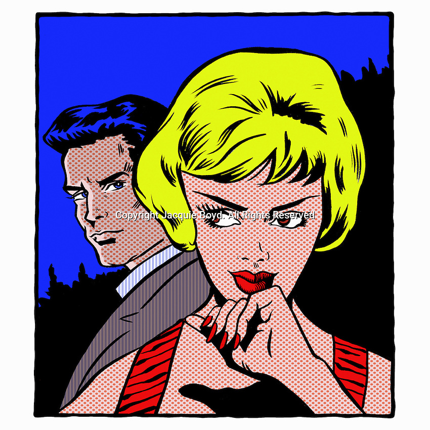 Pop art comic of man looking at woman ExclusiveImage