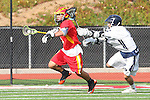 Mission Viejo, CA 05/14/11 - Erick Bermudez (Mission Viejo #8) and unidentified Loyola player in action during the Division 2 US Lacrosse / CIF Southern Section Championship game between Mission Viejo and Loyola at Redondo Union High School.