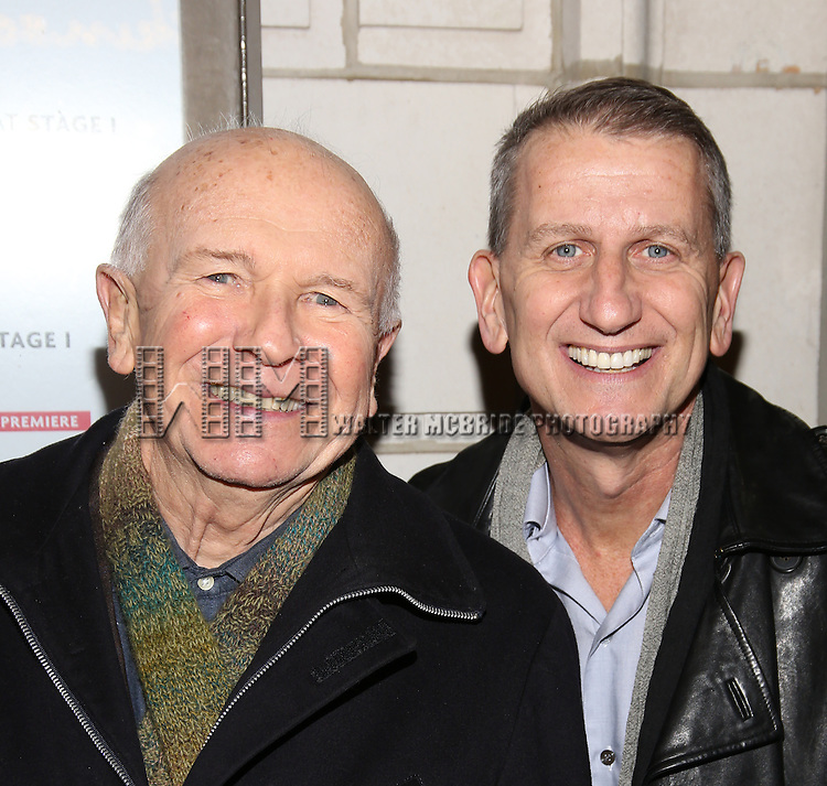 Terrence McNally with his husband Tom Kirdahy attend the Manhattan Theatre Club's Broadway debut of August Wilson's 'Jitney' at the Samuel J. Friedman Theatre on January 19, 2017 in New York City.
