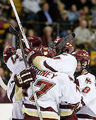 Benn Ferriero (Boston College - Essex, MA), Joe Rooney (Boston College - Canton, MA), Mike Brennan (Boston College - Smithtown, NY) and Brett Motherwell (Boston College - St. Charles, IL) celebrate Ferriero's goal which tied the game. The Boston College Eagles defeated the Harvard University Crimson 3-1 in the first round of the 2007 Beanpot Tournament on Monday, February 5, 2007, at the TD Banknorth Garden in Boston, Massachusetts.  The first Beanpot Tournament was played in December 1952 with the scheduling moved to the first two Mondays of February in its sixth year.  The tournament is played between Boston College, Boston University, Harvard University and Northeastern University with the first round matchups alternating each year.