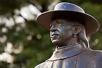 Closeup of famous iconic Stevie Ray Vaughan Statue in Austin, Texas