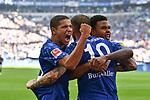 31.08.2019, VELTINS-Arena, Gelsenkirchen, GER, DFL, 1. BL, FC Schalke 04 vs Hertha BSC, DFL regulations prohibit any use of photographs as image sequences and/or quasi-video<br /> <br /> im Bild Guido Burgstaller (#19, FC Schalke 04) jubelt nach seinem Tor zum 2:0 mit Amine Harit (#25, FC Schalke 04) Weston Mc Kennie (#2, FC Schalke 04) <br /> <br /> Foto © nordphoto/Mauelshagen