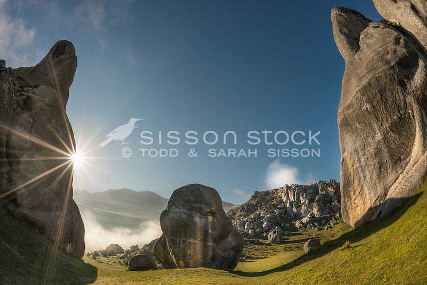 Sunstar, Castle Hill Rocks, Canterbury, New Zealand - stock photo, canvas, fine art print