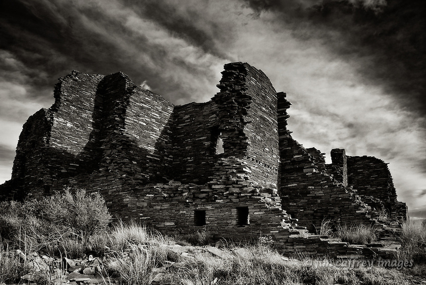 A black and white image of the Great House, once home to hundreds of people at Pueblo Pintado, an outlier of Chaco Canyon.