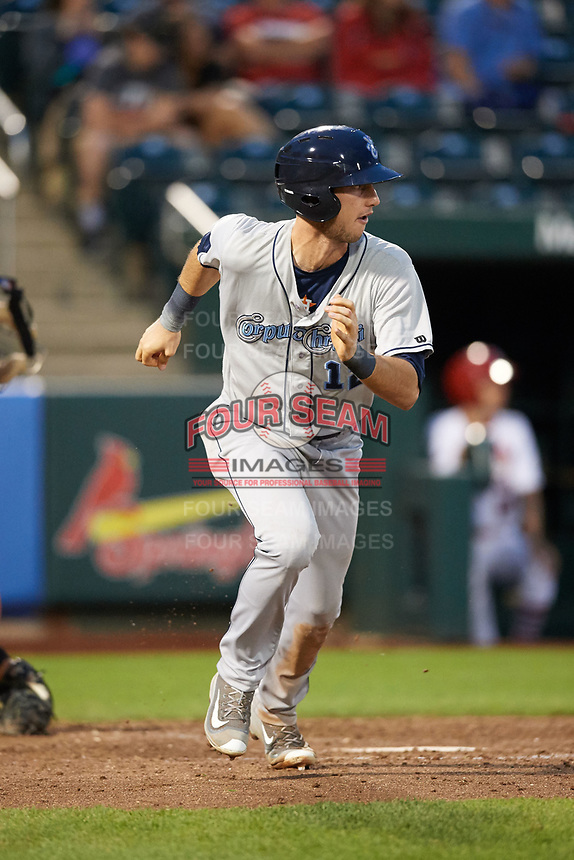 Corpus Christi Hooks right fielder Kyle Tucker (12) runs to first after hitting a home run during a game against the Springfield Cardinals on May 31, 2017 at Hammons Field in Springfield, Missouri.  Springfield defeated Corpus Christi 5-4.  (Mike Janes/Four Seam Images)