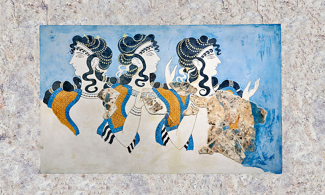 Minoan wall art fresco of 'Ladies in Blue' from Knossos Palace 1600-1450 BC. Heraklion Archaeological Museum.<br /> <br /> The 'Ladies in Blue' Minoan fresco depicts richy dressed female figures with opulent jewelery and clothing with flamboyant hairstyles refecting the wealth of the Palace of Knossos